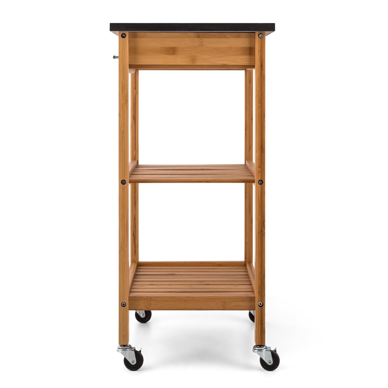 Klarstein Tennessee carrito auxiliar de cocina con 3 niveles (encimera de 58 x 40 cm de granito negro, 2 estantes a 28 cm altura, 1 cajón, 4 ruedas de goma ...
