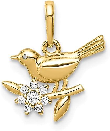 14k Yellow Gold Bird on a Branch CZ Pendant