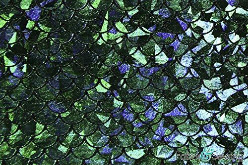- Green Mermaid Fish Scale Iridescent Foil Fabric 4 Way Stretch Nylon Spandex 6 Oz 58-60