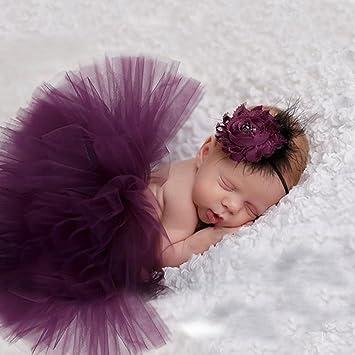 821aebb013d04 merssavo mignon nouveau-né bébé Tutu Jupe et fleur de bandeau photo Prop  Costume Outfit