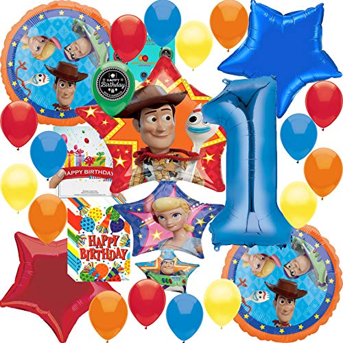 Toy Story 4 Party Supplies Balloon Decoration Deluxe Bundle with Birthday Card and Happy Birthday Treat Bags (1st Birthday) -