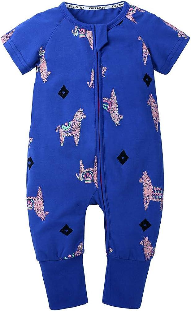 Kids Tales Baby Boys Girls Zipper Short Sleeve Pajama Sleeper Cotton Romper(Size 3M-3T)