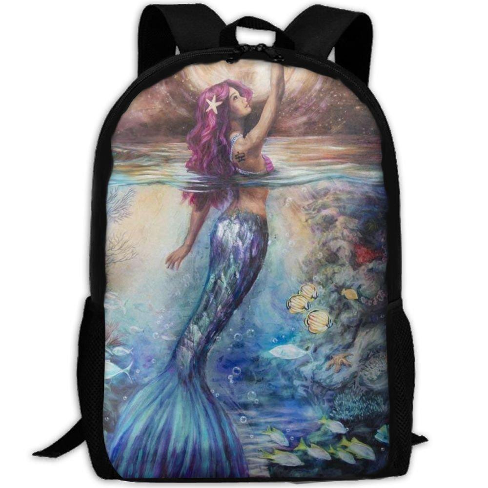JJHGNL Mermaid Under Moonlight Unique School Backpack Set Canvas Teen Girls Bookbags Laptop Backpack Kids Lunch Tote Bag Clutch Purse by JJHGNL (Image #1)