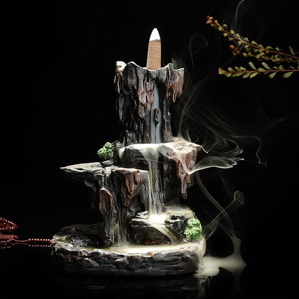 MAYMII Zen Garden Mountain Stream Backflow Handcrafted Resin Incense Holder Burner, Aromatherapy Furnace Diffuser for Home Decor