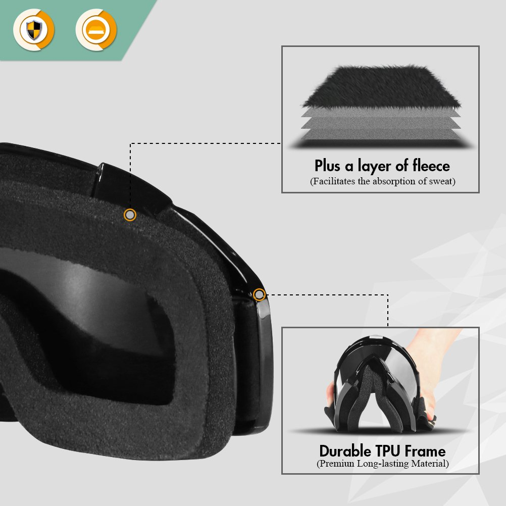 AULLY PARK Motorcycle Goggles, Dirt Bike Goggles Grip For Helmet, ATV Motocross Mx Goggles Glasses with 3 Lens Kit Fit for Men Women Youth Kids by AULLY PARK (Image #4)