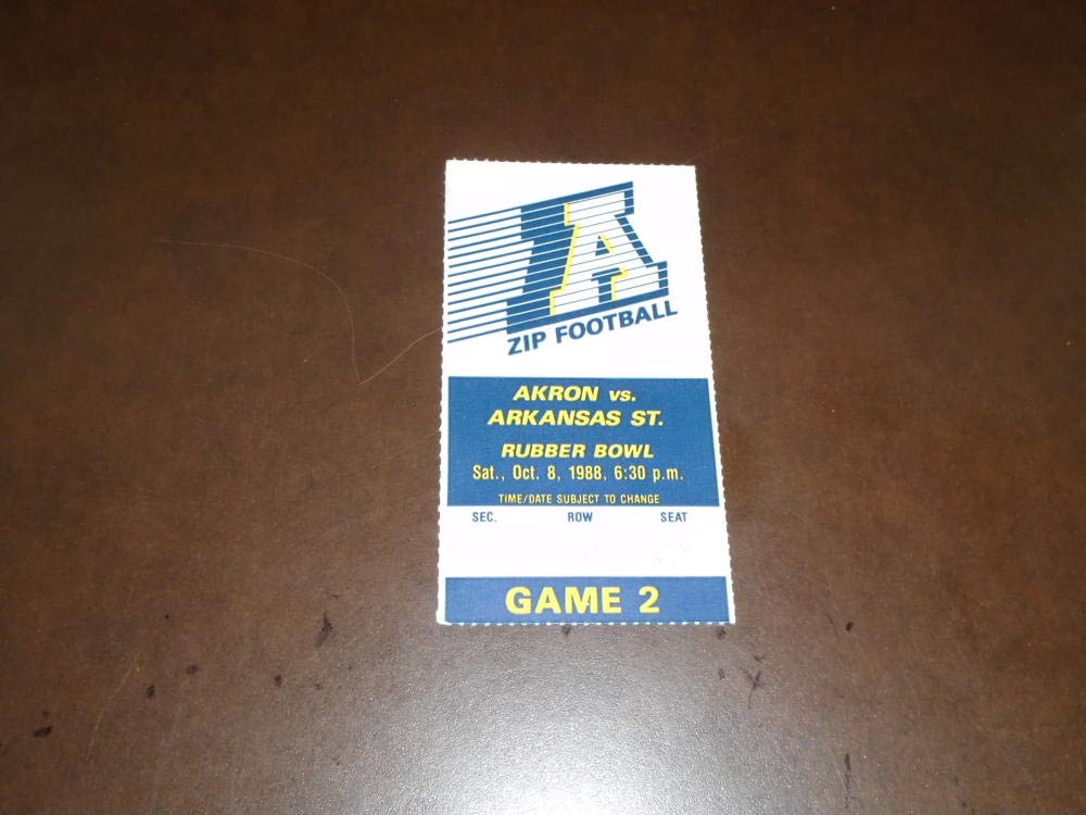 1988 ARKANSAS STATE AT AKRON COLLEGE FOOTBALL TICKET STUB NEAR MINT