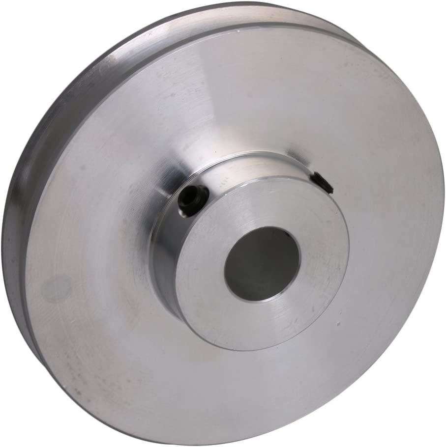 CNBTR 4.1x1.6x1CM Silver Aluminum Alloy 1CM Fixed Hole Single Groove V-Shape Pulley for Motor Shaft 0.3-0.5CM PU Round Belt