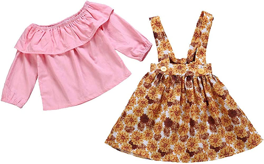Lurryly❤Clothes for Baby Girls Long Sleeve Tops+Floral Skirt Baby Outfits Kids Clothing 1-4T