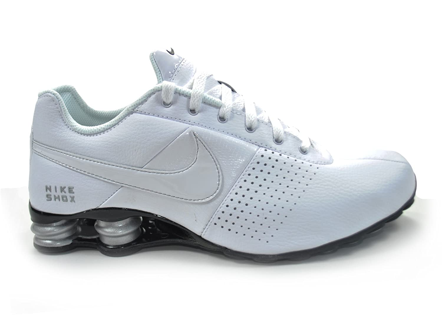 Nike Men's Shox Deliver White / White / Metallic Silver / Black Leather Running  Shoes 85