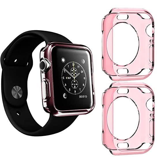 buy popular 35c64 cc2ac 2 Packs, Jinxtech 44mm iWatch Case Soft TPU Shockproof Case Cover Bumper  Protector Compatible with Apple Watch Case Series 4 (44mm)(Pink)