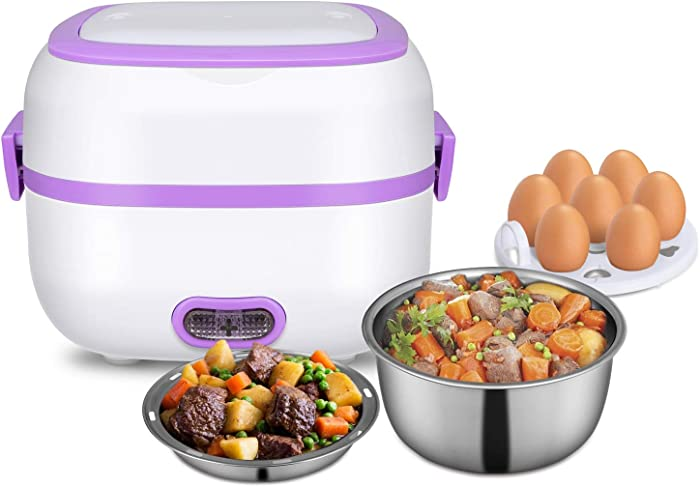 MoModer Mini Rice Cooker, Multifunctional Electric Food Heater Food Warmer Food Cooker with Stainless Steel Bowls, Egg Steaming Tray, Spoon, Measuring Cup for Office, Home, School, Travel