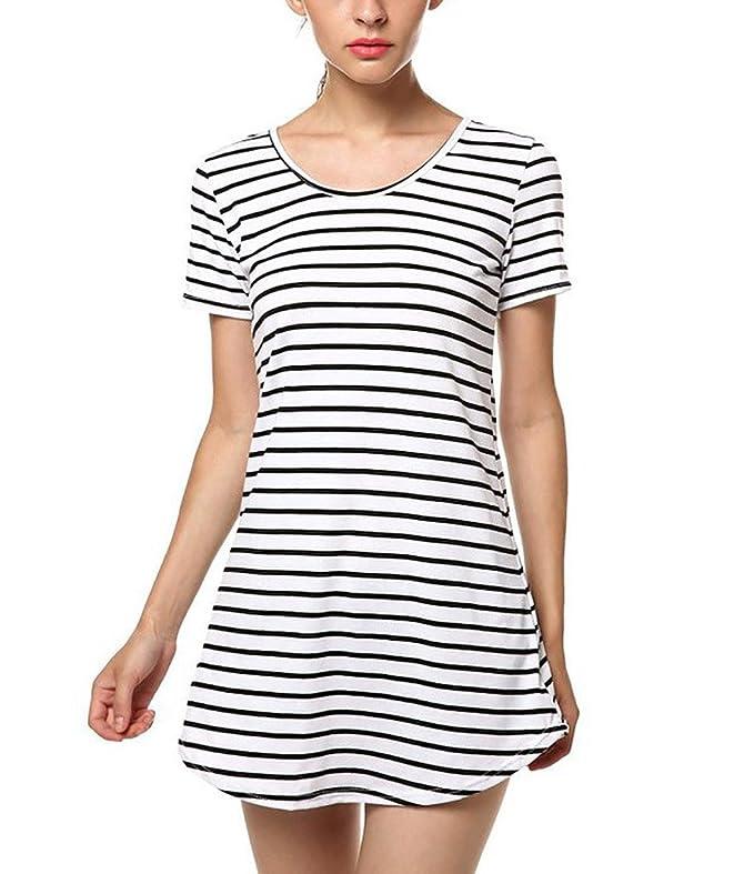 Frauen Kleider Langshirts Freizeitkleid Blusenkleid Kurzärmelig Rundkragen  Nadelstreifen Asymmetrisch Sommer: Amazon.de: Bekleidung