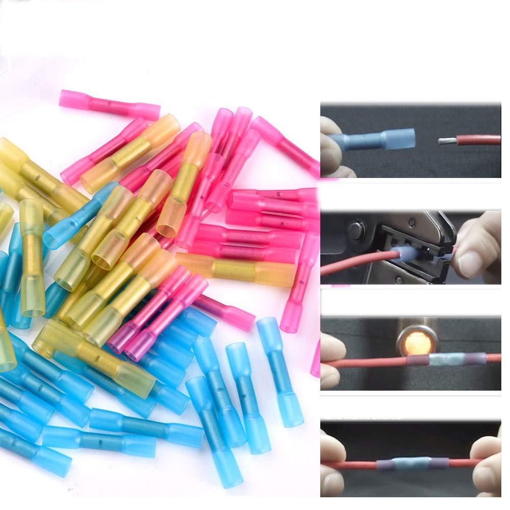 CGBOOM 200pcs Kabelverbinder L/ötverbinder Set Isolierte Marine Sto/ßsplei/ße Schrumpfschlauch Set Schrumpfverbinder Sto/ßverbinder Quetschverbinder