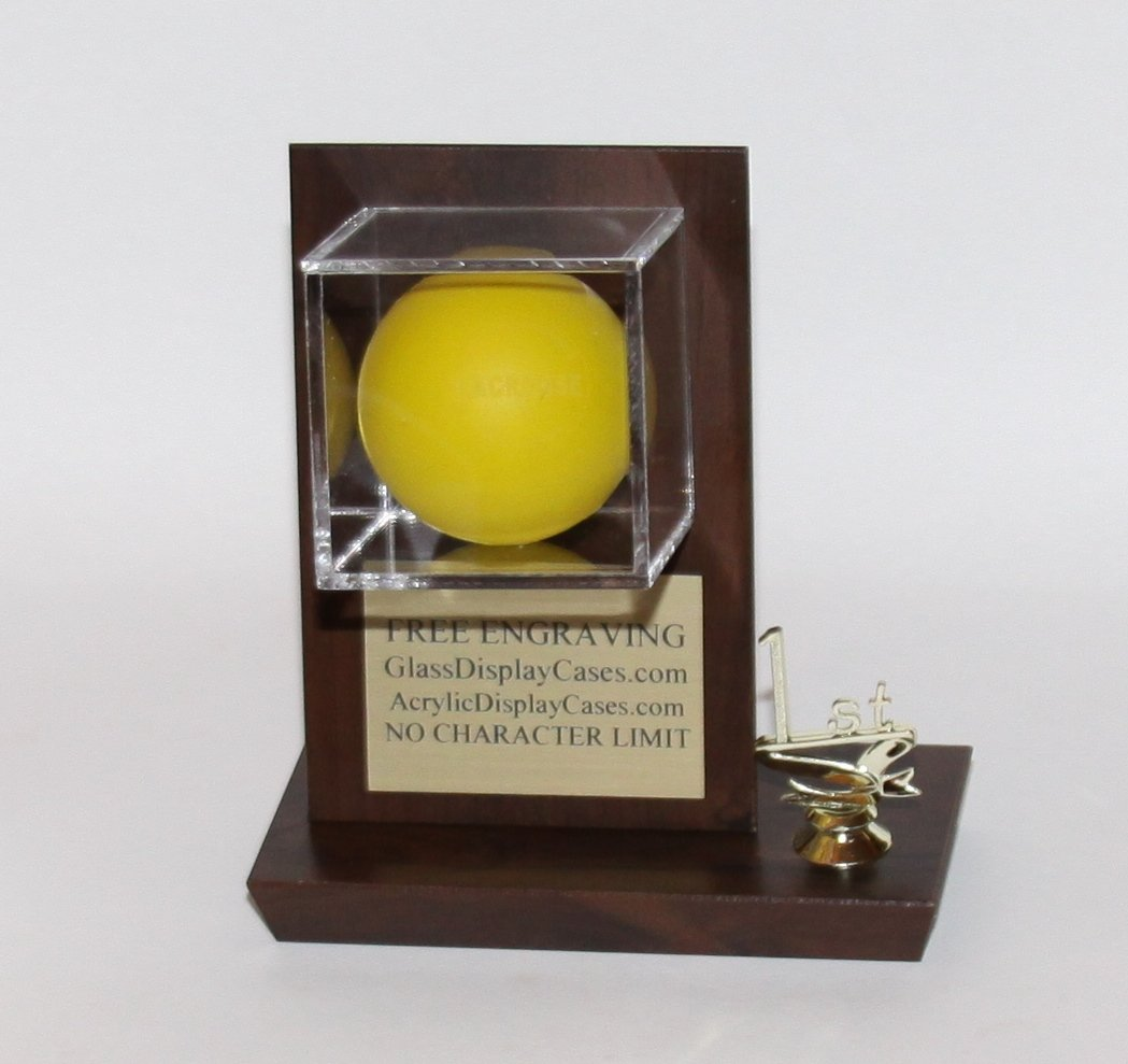 Lacrosse Ball 1st Career or First Varsity Goal Personalized Acrylic Desktop Display Case with Cherry Finish