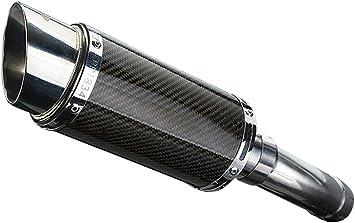 Delkevic De-Cat Aftermarket Slip On compatible with Kawasaki KLX250 Mini 8 Carbon Fiber Round Muffler 09-16