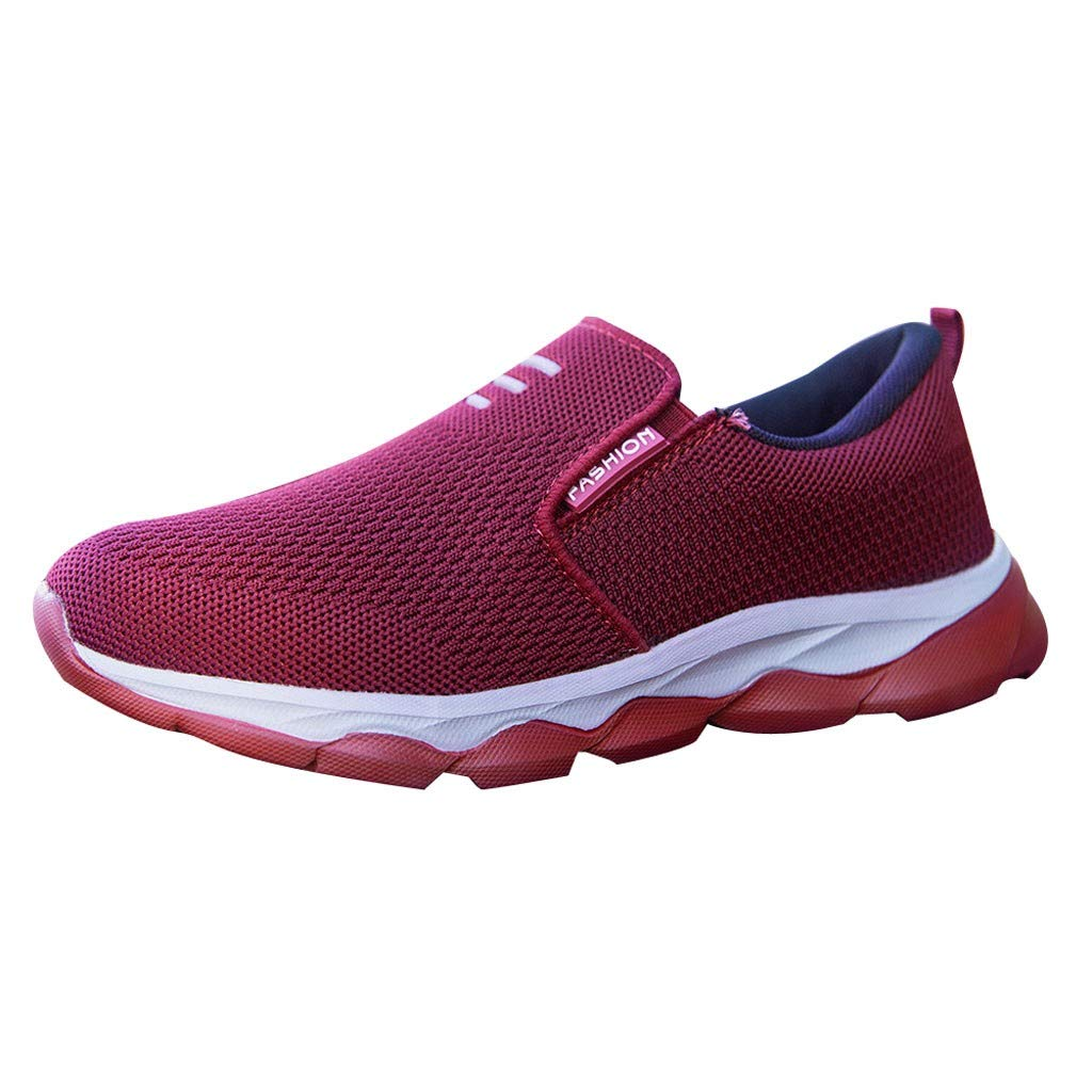 Dermanony Womens Slip on Sneakers Mesh Breathable Non-Slip Soft Bottom Flats Shoes Casual Walking Driving Shoes Red by Dermanony _Shoes