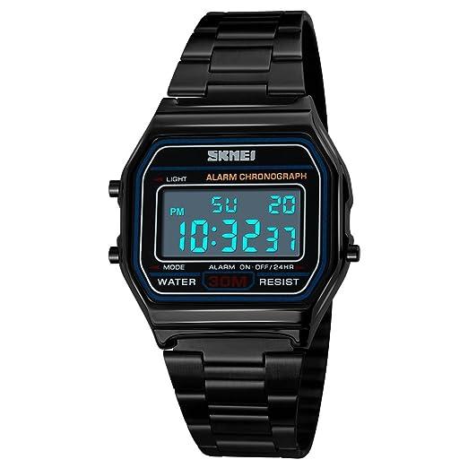 FeiWen Relojes de Pulsera de Mujer y Hombre Deportivo Militar Digitales LED Electrónica Fashion Casual Multifuncional Acero Inoxidable Reloj, Negro: ...