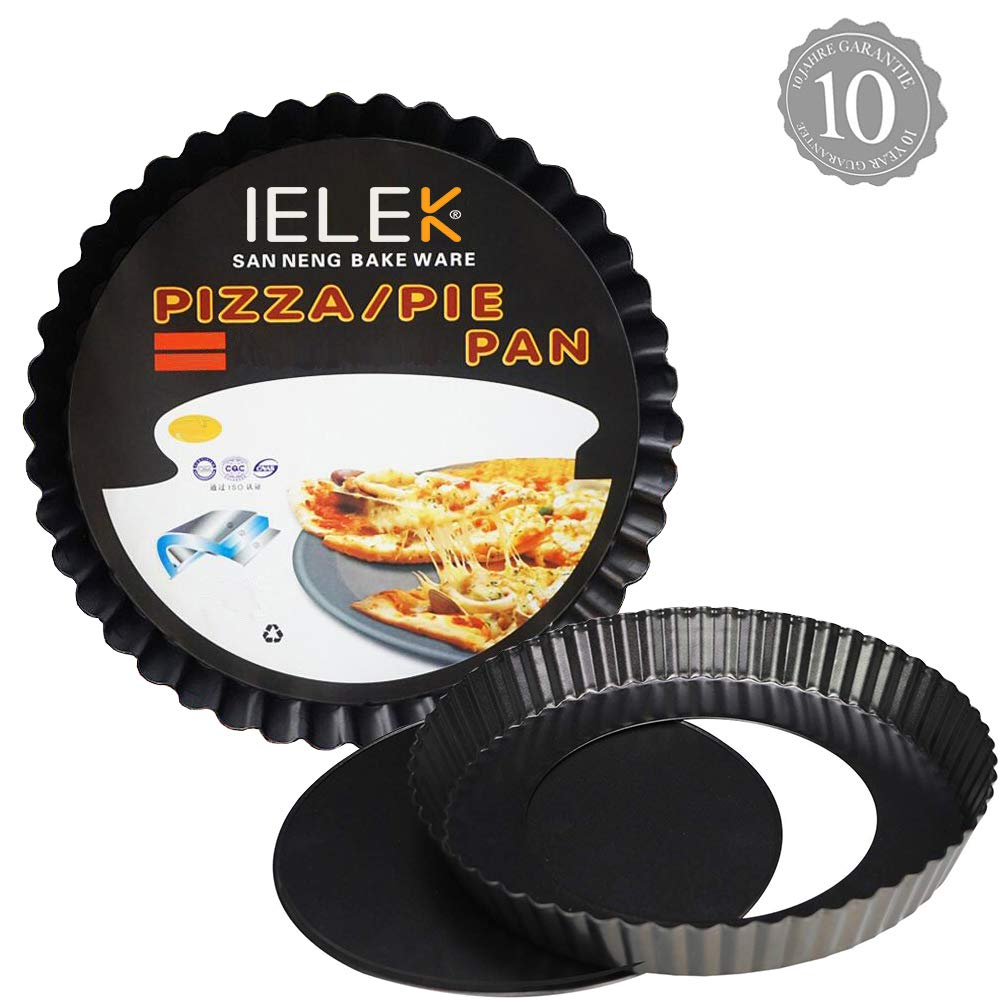 Tart Flan Pie Pan Nonstick Heavy Duty 10 Inch Quiche Cheese Molds With Removable Loose Bottom Fluted by IELEK