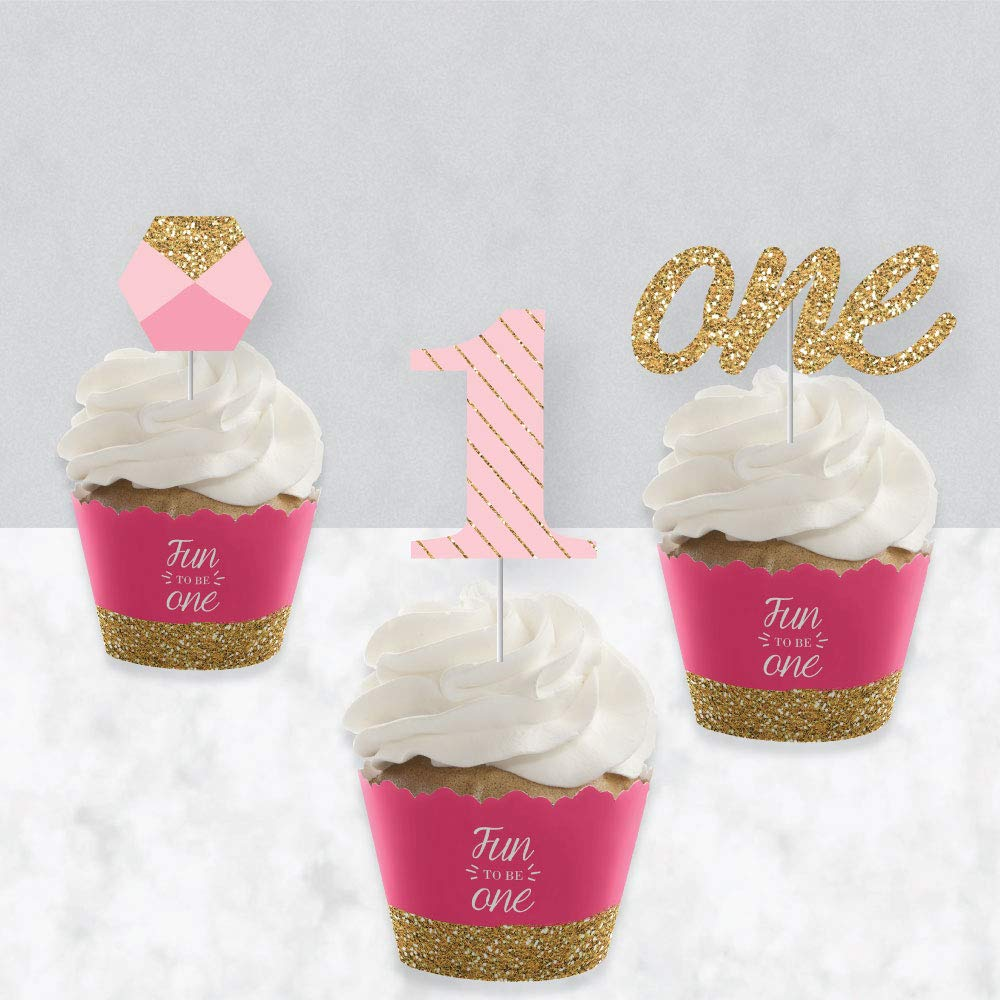 1st Birthday Girl - Fun to be One - Cupcake Decoration - First Birthday Party Cupcake Wrappers and Treat Picks Kit - Set of 24 by Big Dot of Happiness (Image #3)