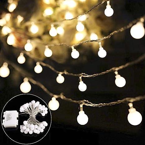Weihnachtsbeleuchtung Led Batterie.B Right 40 Led Globe Lichterkette Glühbirne Lichterkette Batterie Batteriebetrieben Warmweiß Innen Und Außen Lichterkette Weihnachtsbeleuchtung