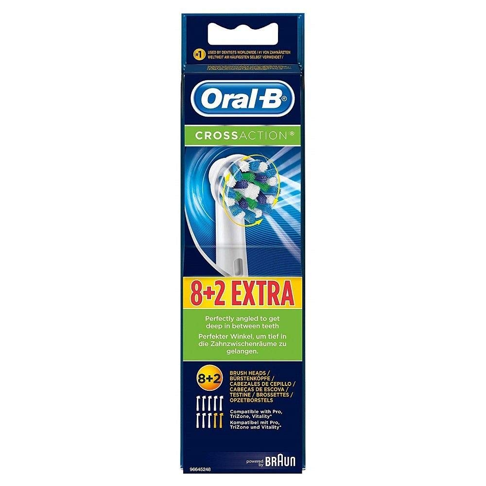 10x Oral-B 8+2 Replacement Electric Tooth Brush Heads For Pro TriZone Vitality Braun GmbH Oral B CrossAction 8er+2