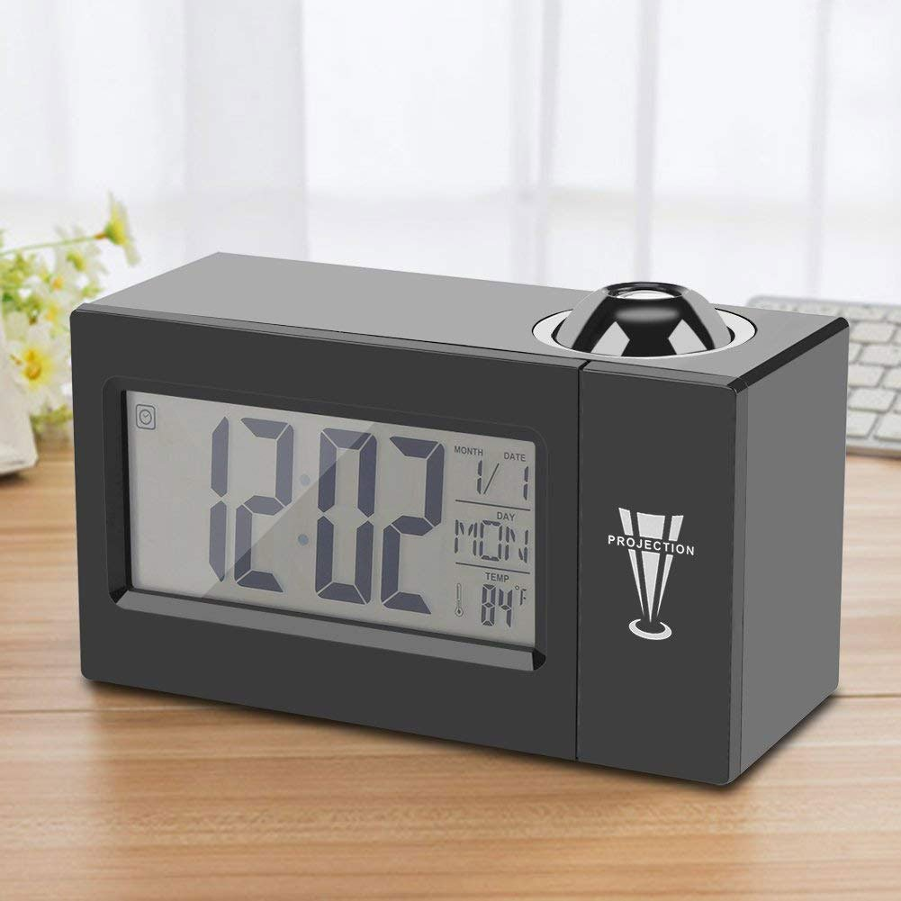 IDABAY Projection Clock Voice Control Luminous Backlight with LCD Display Curved-Screen Digital Alarm Report Punctually Snooze Temperature Humidity Week Date Display(Black). by IDABAY (Image #1)