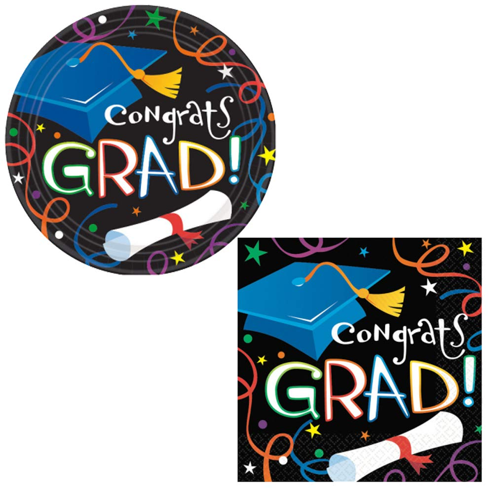 Graduation Party Supplies Pack for Girls Boys Adults - (32) 7'' Small Dessert Plates & (32) 5'' x 5'' Beverage Napkins