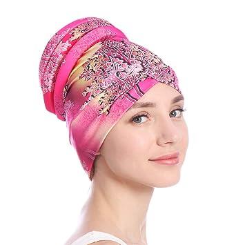 cddf882757b3 Ysoutstripdu coloré Femme musulmane islamique hijab Turban Chapeau  couvre-chefs Écharpe chimio Coque Cap Cadeau