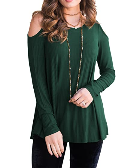 a6e6aa80490b LSAME Womens Casual Knit Blouse Scoop Neck Cold Shoulder Long Sleeve Shirts  Tunic Tops for Leggings