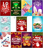 Myroh Seasonal Garden Flags Premium Quality Outdoor Yard Décor, Top Assorted Holiday Pack Set of 10, 12.5 x 18 inches Prime Double Sided Colorful Print, Designed in The USA, Best Thick Polyester For Sale