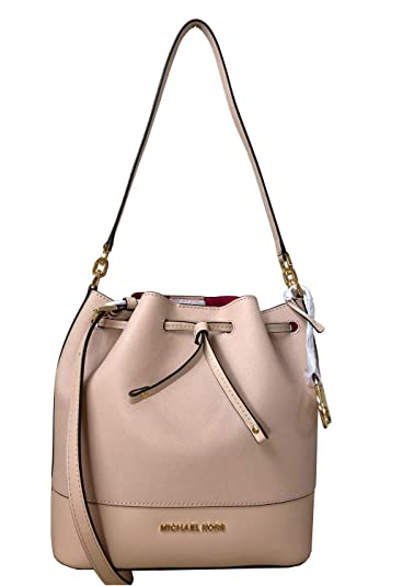 Michael Kors Trista Medium Drawstring Bucket Leather Shoulder Crossbody Bag  in Various Colors (Ballet) 723d8129c48d5