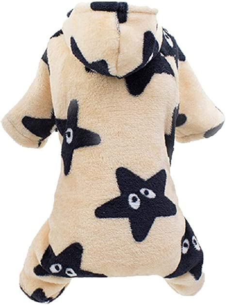Star Hooded Dog Pajamas Comfy Velvet Winter Small Dogs Jumpsuit Coat Clothes