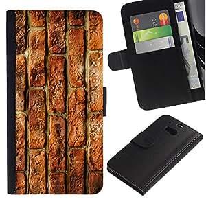 KLONGSHOP / Tirón de la caja Cartera de cuero con ranuras para tarjetas - Brick Wall Rustic Red Street Building - HTC One M8