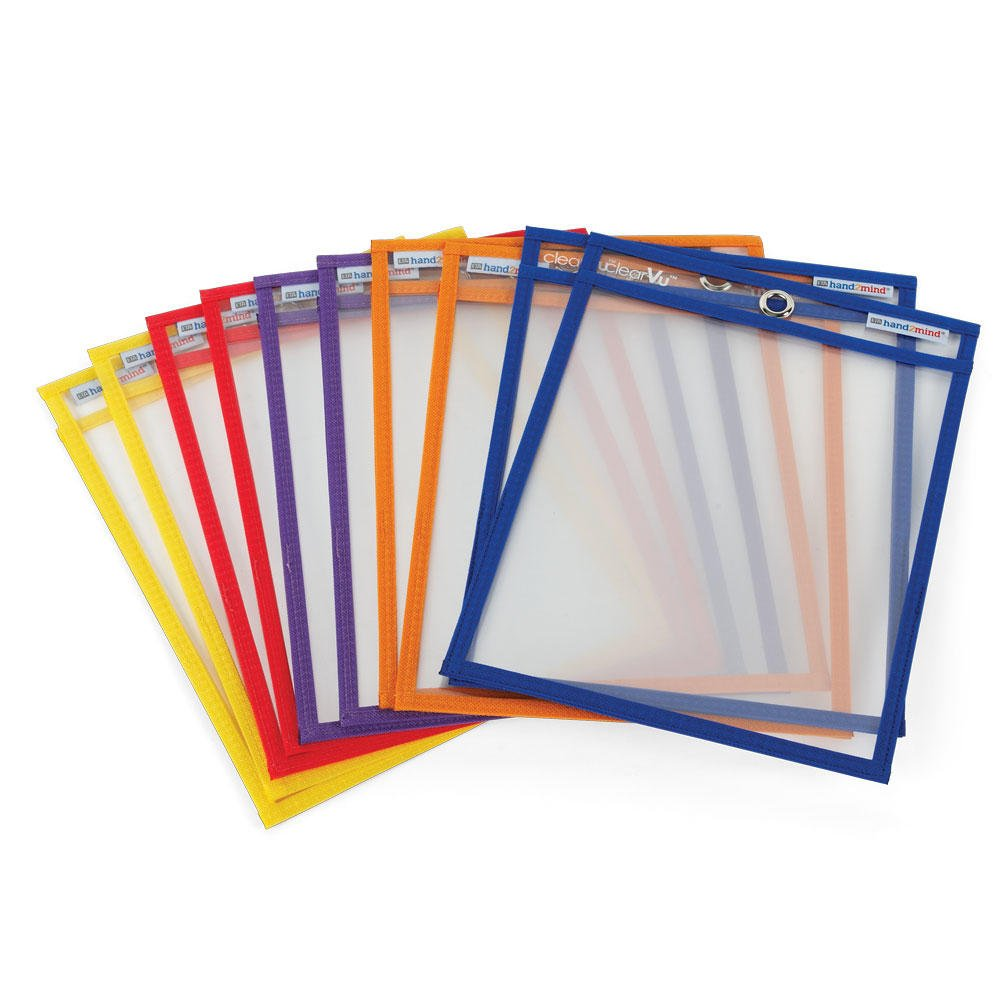 """hand2mind Reusable, Dry Erase Pockets, 9"""" by 12"""" Erasable Pocket Sleeves (Pack of 10)"""