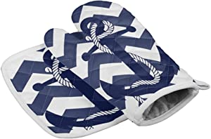 LBFUN Kitchen Oven Mitts and Pot Holders, Nautical Anchor Kitchen Oven Gloves Hot Pads Set for Kitchen BBQ Cooking Baking Grilling,Heat Resistance Non-Slip,Navy Blue