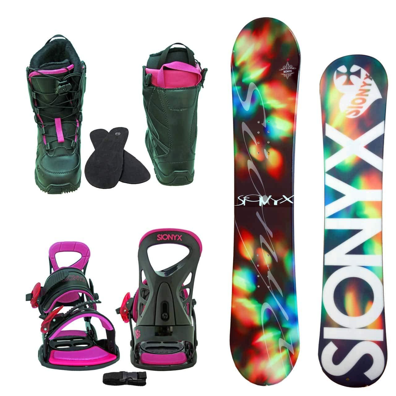 SIONYX レディース スノーボード3点セット スノボー+バインディング+クイックシューレースブーツ BELLA B07JX5PPZR ボード 144+boots 24.0|ボード ブラック+binding ピンク+boots ブラック ボード ブラック+binding ピンク+boots ブラック ボード 144+boots 24.0