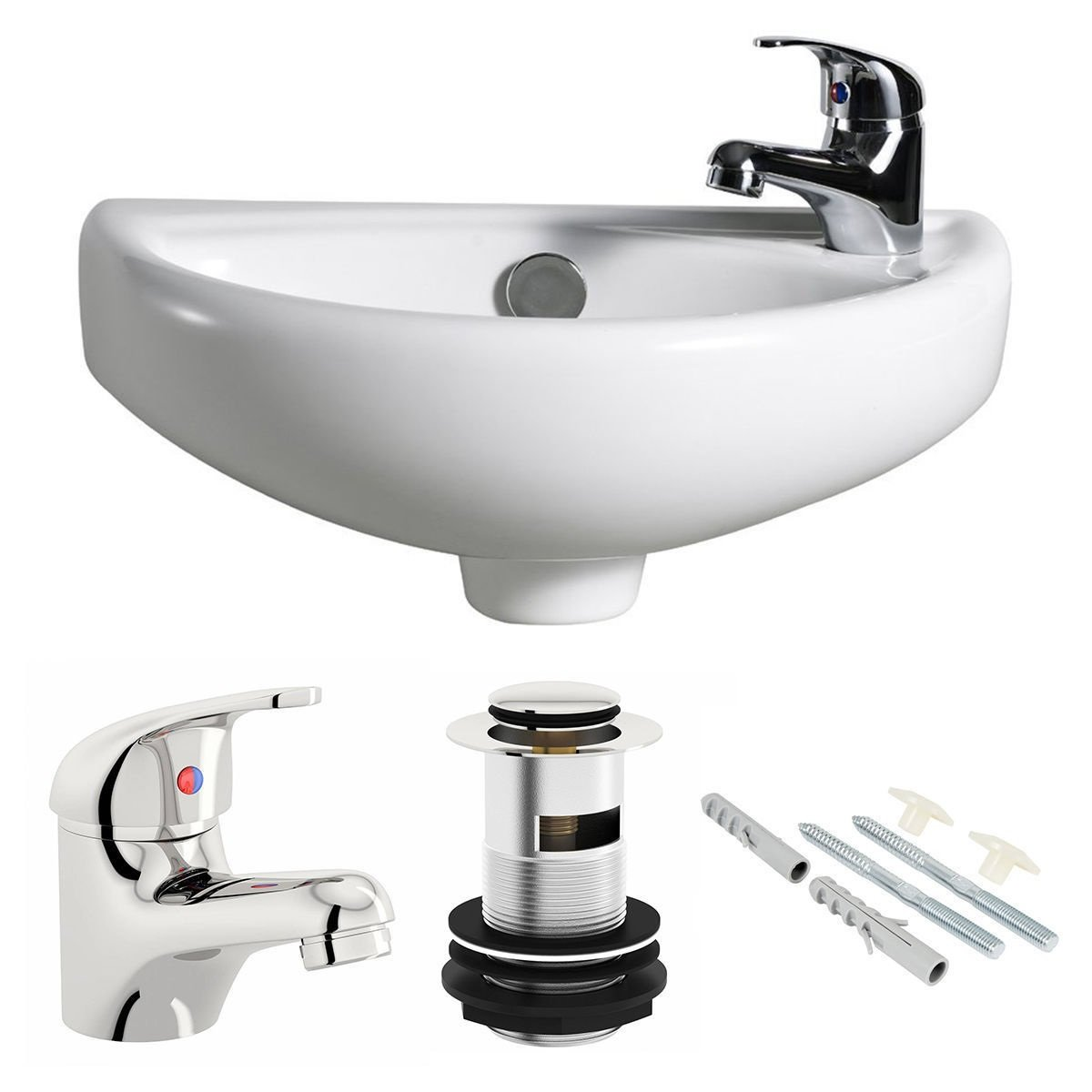 Compact Wall Hung Basin Sink Bathroom Mini Tiny Small Right Hand + Tap & Waste The Home Store