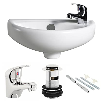 Sensational Compact Wall Hung Basin Sink Bathroom Mini Tiny Small Right Hand Tap Waste Download Free Architecture Designs Grimeyleaguecom