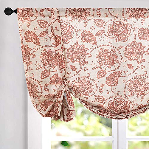 Tie Up Curtains for Windows Linen Textured Adjustable Tie-up Shade for Kitchen Rod Pocket Medallion Design Rustic Jacobean Floral Printed Tie-up Valance (1 Panel 45 Inches Red)...