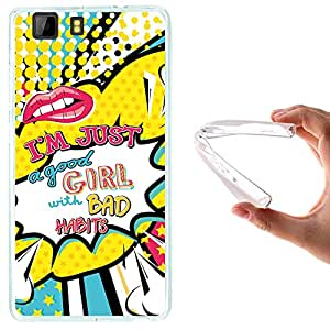 Funda Doogee X5 - X5 Pro, WoowCase [ Doogee X5 - X5 Pro ] Funda Silicona Gel Flexible Labios Comic Frase - I'm Just A Good Girl With Bad Habits, Carcasa Case TPU Silicona - Transparente