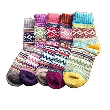 YANSHG® 5 Pares Mujeres Estilo Vintage Invierno Suave cálido Grueso Tejer Calcetines de Lana