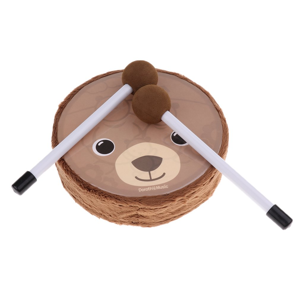 MagiDeal 6 inch Kids Wooden Small Drum Toys with Drum Sticks Mallet for Early Education Wood + Felt non-brand 0570003090010UKA