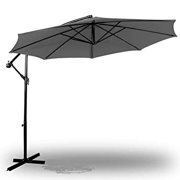 Deluxe Natural 10u0027 Offset Outdoor Patio Umbrella   Slate Grey