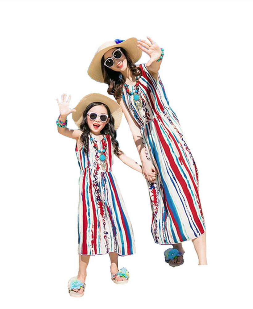 Elufly Mom and Me Matching Dresses Parent-Child Outfits Summer Maxi Beach Sundress (Mom A, XXL)