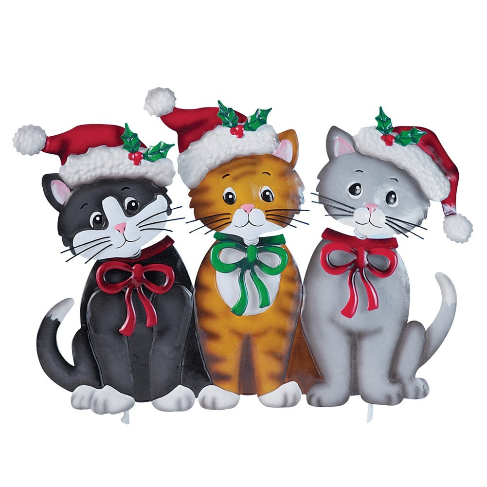 Collections Etc Holiday Cats Garden Stake Christmas Yard Decoration