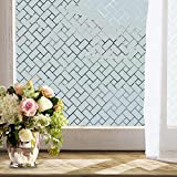 WPT Non-Adhesive Static Frosted Privacy Window Film Stained Glass Window Film Privacy Film for Home Bathroom Living Room (35.4 X 78.7inches)