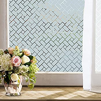 Wopeite Non Adhesive Static Frosted Privacy Window Film Stained Glass Window  Film Privacy Film Home Bathroom Living Room (35.4 X 78.7inches)