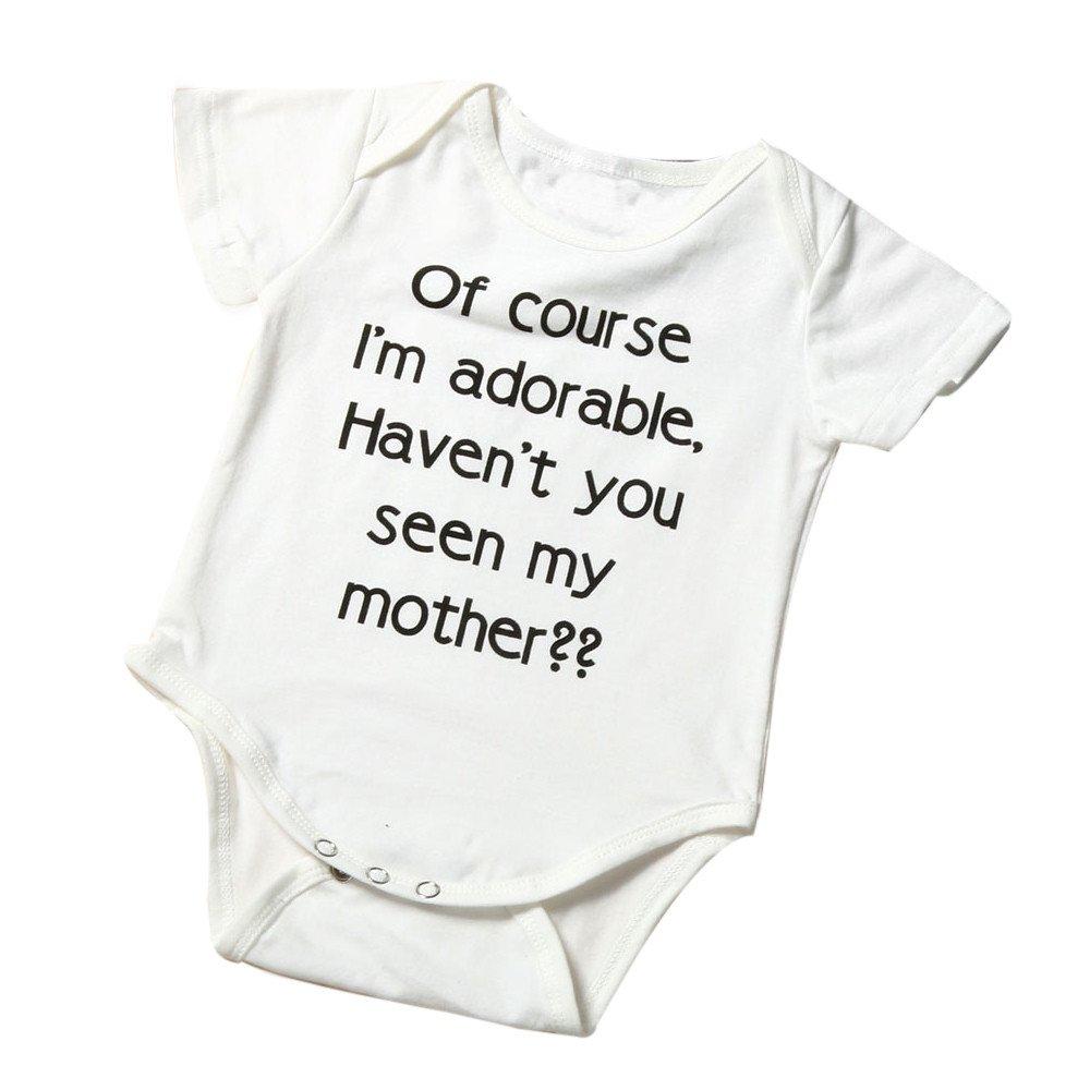 Infant Baby Girl Boy Romper, Short Sleeve Letter Print Bodysuit, Fashion Basic for Newborn Toddler Kid (White-d, 12-18 Months)