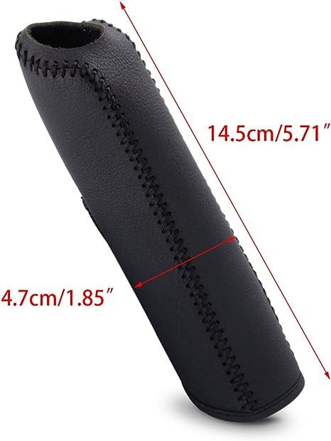 Beler Schwarz Leder Nähen Handbremse Dekorative Abdeckung Hülle Schutzhülle Auto