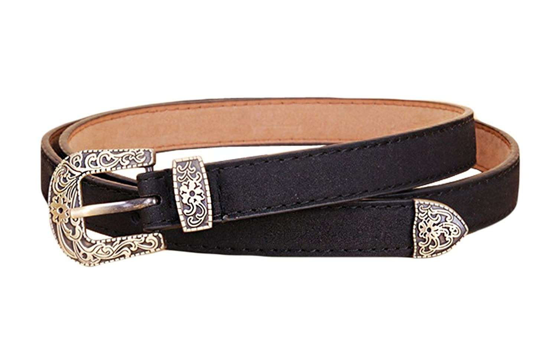 MFrannie Women's Fashion Vintage Flower Leather Dress Jean Belt